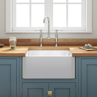 Fireclay Farmhouse Belfast White Ceramic Kitchen Sink & Waste with Weir Overflow - 600 x 450mm