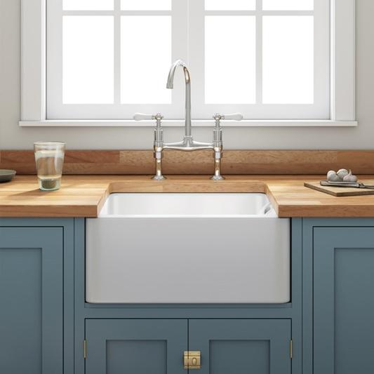 Butler Rose Ceramic Fireclay Belfast Kitchen Sink With Waste 600 X 450mm Tap Warehouse
