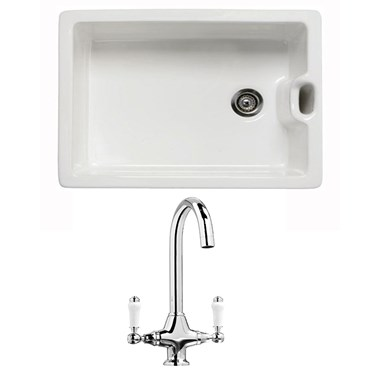RAK 600 Gourmet Belfast Ceramic Sink with Luxury Basket Strainer & Vellamo Victoria Traditional Kitchen Mixer Tap