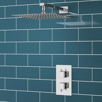 Gozo Square Concealed Shower Valve & Fixed Shower Head