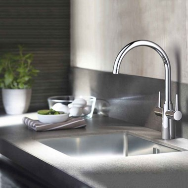 Grohe Ambi Contemporary Twin Lever Mono Sink Mixer with Swivel Spout - Chrome