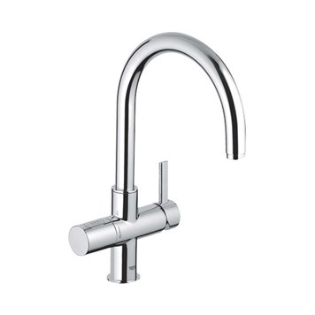 Grohe Blue 2 Sparkling Water Filter Mono Kitchen Mixer with Swivel 'C' Spout - Chrome