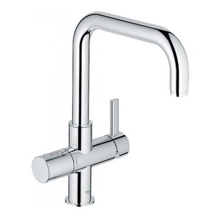 Grohe Blue 2 Sparkling Water Filter Mono Kitchen Mixer with Swivel 'U' Spout - Chrome