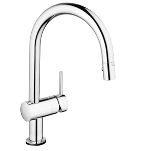 Grohe Minta Touch Electronic Mono Sink Mixer With C-Spout & Pull Out Mousseur - Starlight Chrome