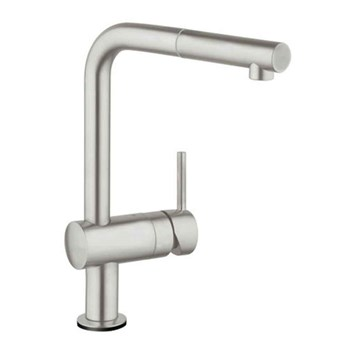 Grohe Minta Touch Electronic Mono Sink Mixer with L-Spout & Pull Out Mousseur - Super Steel