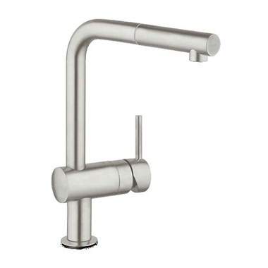 Grohe Minta Single Lever Mono Sink Mixer with Pull Out Spout - Super Steel