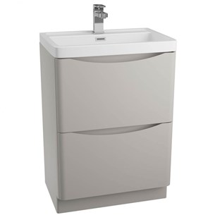 Maya 600mm Floorstanding 2 Drawer Vanity Unit & Basin - Grey