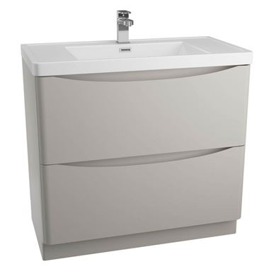Maya 900mm Floorstanding 2 Drawer Vanity Unit & Basin - Grey