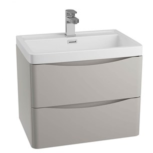 Maya 600mm Wall Mounted 2 Drawer Vanity Unit & Basin - Grey