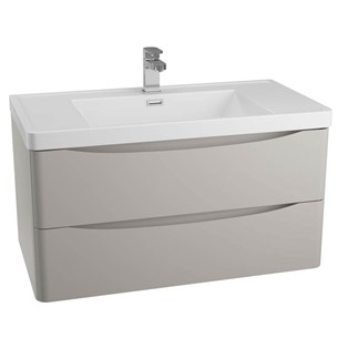 Maya 900mm Wall Mounted 2 Drawer Vanity Unit & Basin - Grey