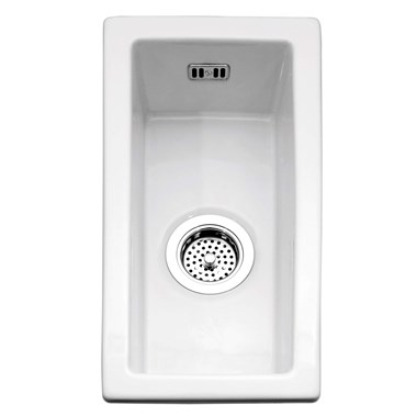 Caple Hampshire 0.5 Bowl Inset or Undermount White Ceramic Kitchen Sink - 250 x 475mm