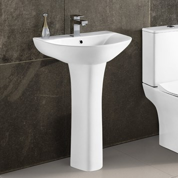 Harbour Acclaim 550mm 1 Tap Hole Basin & Full Pedestal