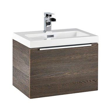 Harbour Alchemy 500mm Wall Hung Vanity Unit & Basin - Dark Oak
