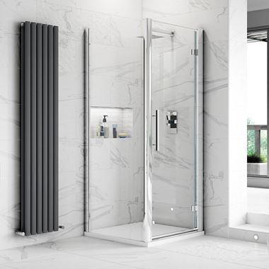 Harbour Alchemy 8mm Easy Clean Hinged Shower Door 900mm & Side Panel 800mm
