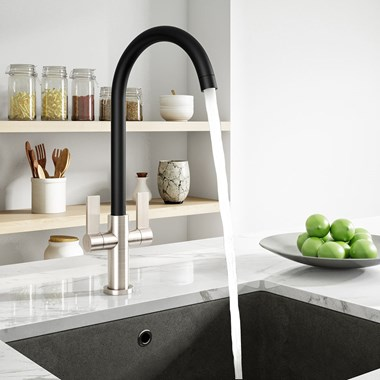 Harbour Alchemy Kitchen Mono Mixer Tap - Brushed Nickel & Black