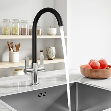 Harbour Alchemy Kitchen Mono Mixer Tap - Chrome & Black