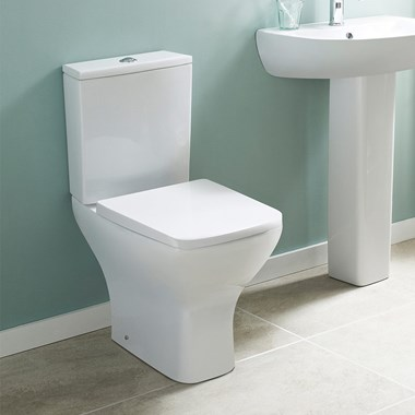 Harbour Alchemy Rimless Close Coupled Toilet & Slim Wrapover Soft Close Seat - 610mm Projection
