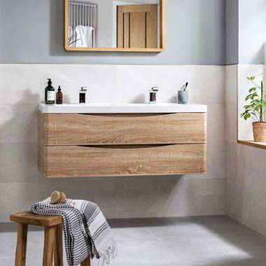 Harbour Clarity 1200mm Wall Mounted Double Basin Vanity Unit - Light Oak