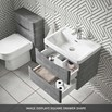 Harbour Clarity 600mm Wall Mounted 2 Drawer Vanity Unit & Basin - Light Grey