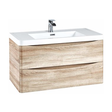 Harbour Clarity 900mm Wall Hung Vanity Unit & Basin - Bardolino Driftwood Oak