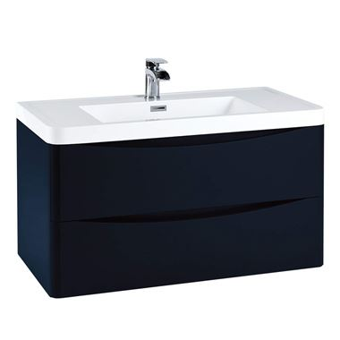 Harbour Clarity 900mm Wall Hung Vanity Unit & Basin - Indigo Blue