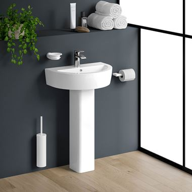 Harbour Clarity 550mm Basin & Full Pedestal - One Tap Hole