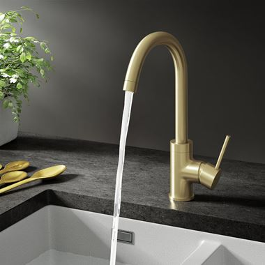 Harbour Clarity Single Lever Mono Kitchen Mixer Tap - Brushed Brass