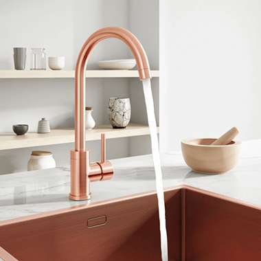 Harbour Clarity Single Lever Mono Kitchen Mixer Tap with Complete Filter Kit - Brushed Copper