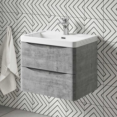 Harbour Clarity 600mm Wall Mounted Vanity Unit & Basin - Concrete