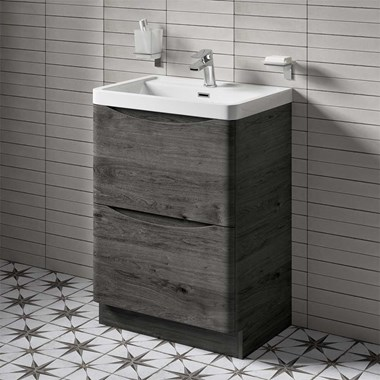 Harbour Clarity 600mm Floorstanding Vanity Unit & Basin - Graphite Oak