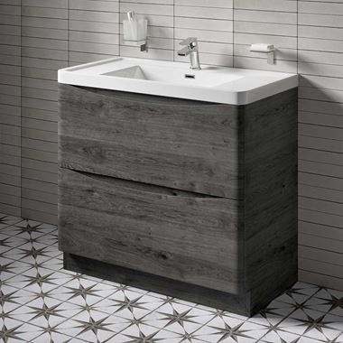 Harbour Clarity 900mm Floorstanding Vanity Unit & Basin - Graphite Oak
