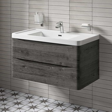 Harbour Clarity 900mm Wall Mounted Vanity Unit & Basin - Graphite Oak