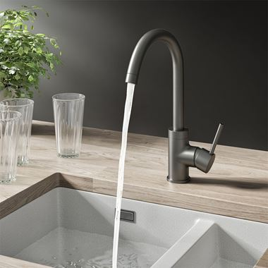 Harbour Clarity Single Lever Mono Kitchen Mixer Tap - Gunmetal