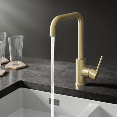 Harbour Clarity U Spout Single Lever Mono Kitchen Mixer Tap - Brushed Brass
