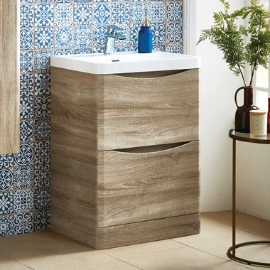 Harbour Clarity 600mm Floorstanding Vanity Unit & Basin - Bardolino Driftwood Oak