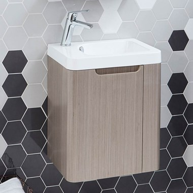 Harbour Compact 450mm Cashmere Oak Vanity Unit & Basin