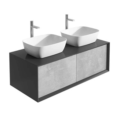 Harbour Scene 1200mm Wall Mounted Countertop Vanity Unit - Black/Concrete