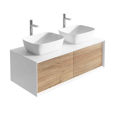 Harbour Scene 1200mm Wall Mounted Countertop Vanity Unit - White/Oak