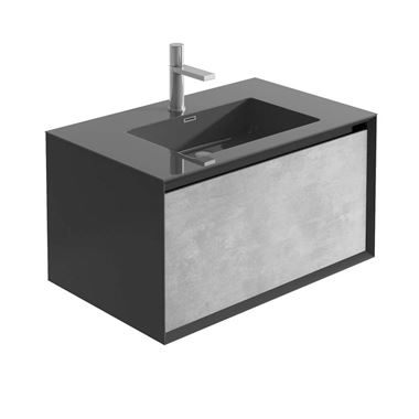 Harbour Scene 750mm Wall Mounted Vanity Unit & Basin - Black/Concrete