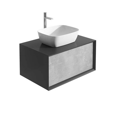 Harbour Scene 800mm Wall Mounted Countertop Vanity Unit - Black/Concrete