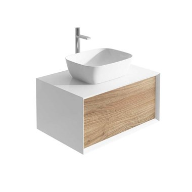 Harbour Scene 800mm Wall Mounted Countertop Vanity Unit - White/Oak