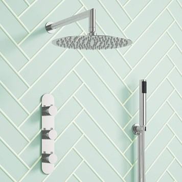 Harbour Slim Femo Concealed Thermostatic Shower Valve, Fixed Shower Head & Handset Kit
