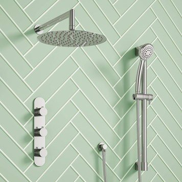 Harbour Slim Fora Concealed Thermostatic Shower Valve, Fixed Head & Slide Rail Kit