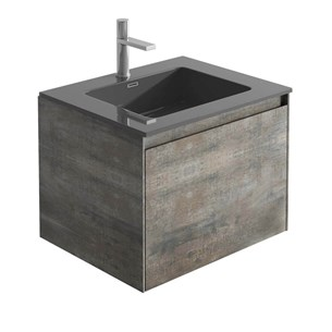 Harbour Substance 600mm 1 Drawer Wall Mounted Vanity Unit & White Basin - Metallic Effect