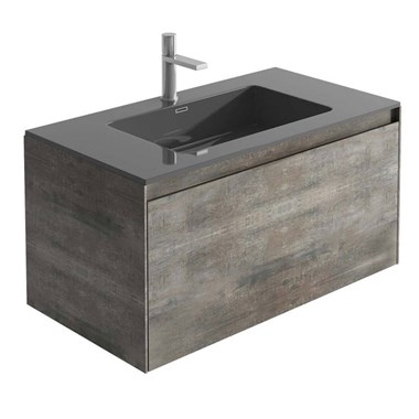 Harbour Substance 900mm 1 Drawer Wall Mounted Vanity Unit & White Basin - Metallic Effect