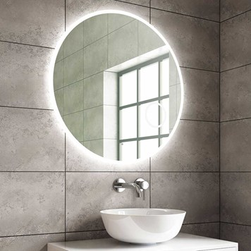 Harbour Glow Round Slimline LED Mirror with Demister Pad, Colour Change LEDs & Magnifying Mirror - 800mm