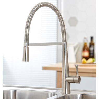 Harbour Grace Pull Out Mono Kitchen Mixer - Brushed Stainless Steel