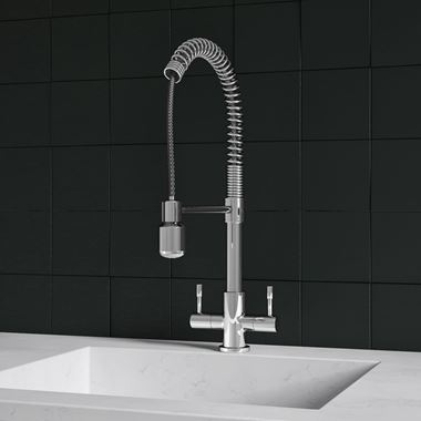 Harbour Groove Twin Lever Mono Kitchen Sink Mixer Tap with Pull Out Hose - Polished Chrome