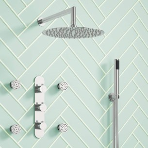 Harbour Slim Hatoma Concealed Thermostatic Shower Valve, Fixed Shower Head, Handset & Body Jets