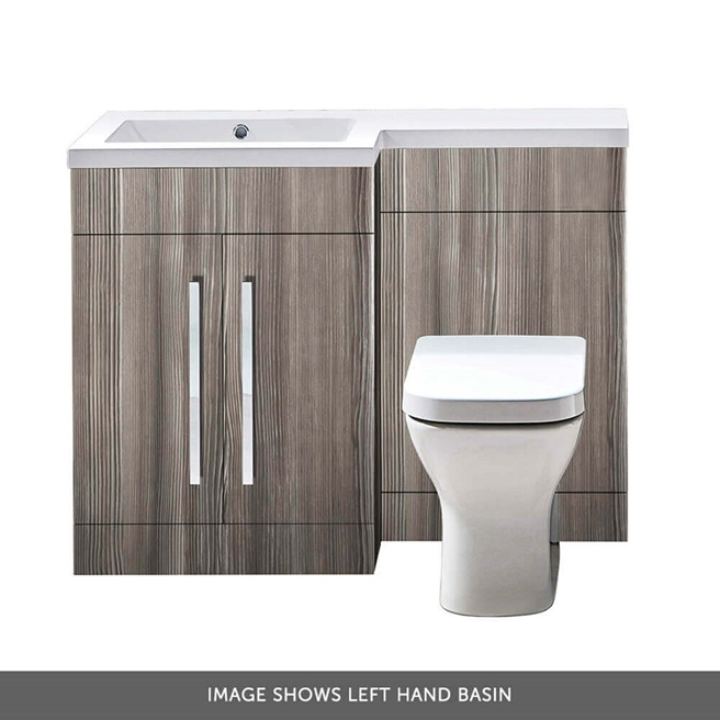 Harbour Icon 1100mm Combination Bathroom Toilet & Sink Unit - Avola Grey